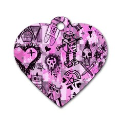 Pink Scene Kid Sketches Dog Tag Heart (two Sided)
