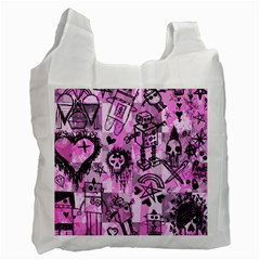 Pink Scene Kid Sketches White Reusable Bag (two Sides) by ArtistRoseanneJones