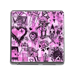 Pink Scene Kid Sketches Memory Card Reader With Storage (square) by ArtistRoseanneJones
