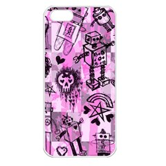 Pink Scene Kid Sketches Apple Iphone 5 Seamless Case (white) by ArtistRoseanneJones