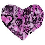 Pink Scene Kid Sketches Large 19  Premium Flano Heart Shape Cushion Front