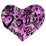Pink Scene Kid Sketches Large 19  Premium Flano Heart Shape Cushion Back