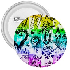Rainbow Scene Kid Sketches 3  Button by ArtistRoseanneJones