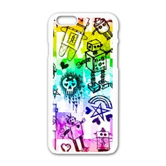 Rainbow Scene Kid Sketches Apple Iphone 6 White Enamel Case by ArtistRoseanneJones