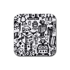 Robot Crowd Drink Coasters 4 Pack (square)