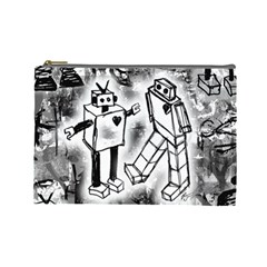 Robot Love Cosmetic Bag (large)