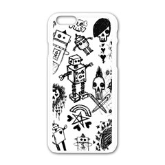 Scene Kid Sketches Apple Iphone 6 White Enamel Case by ArtistRoseanneJones