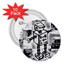 Sketched Robot 2 25  Button (10 Pack) by ArtistRoseanneJones