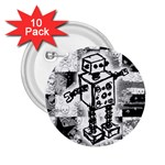 Sketched Robot 2.25  Button (10 pack) Front