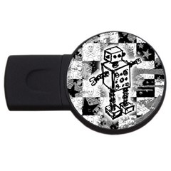 Sketched Robot 4gb Usb Flash Drive (round) by ArtistRoseanneJones