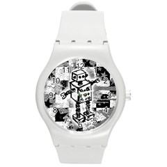 Sketched Robot Plastic Sport Watch (medium) by ArtistRoseanneJones