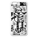 Sketched Robot Apple iPhone 6 Plus Enamel White Case Front
