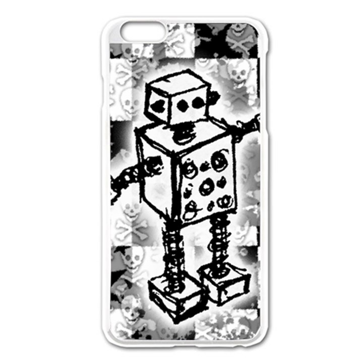 Sketched Robot Apple iPhone 6 Plus Enamel White Case