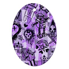 Purple Scene Kid Sketches Oval Ornament by ArtistRoseanneJones