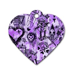 Purple Scene Kid Sketches Dog Tag Heart (one Sided)  by ArtistRoseanneJones