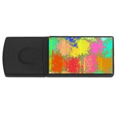 Colorful Paint Spots Usb Flash Drive Rectangular (4 Gb) by LalyLauraFLM