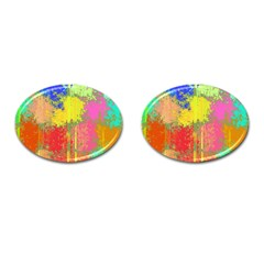 Colorful Paint Spots Cufflinks (oval) by LalyLauraFLM