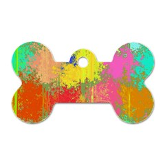 Colorful Paint Spots Dog Tag Bone (one Side) by LalyLauraFLM