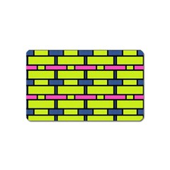 Pink,green,blue Rectangles Pattern Magnet (name Card) by LalyLauraFLM