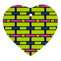 Pink,green,blue Rectangles Pattern Heart Ornament (two Sides) by LalyLauraFLM