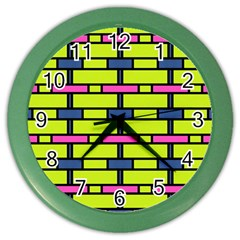 Pink,green,blue Rectangles Pattern Color Wall Clock by LalyLauraFLM