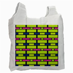 Pink,green,blue Rectangles Pattern Recycle Bag (one Side) by LalyLauraFLM