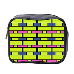 Pink,green,blue Rectangles Pattern Mini Toiletries Bag (two Sides) by LalyLauraFLM
