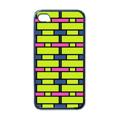 Pink,green,blue Rectangles Pattern Apple Iphone 4 Case (black) by LalyLauraFLM