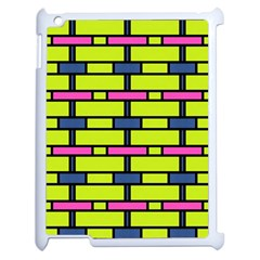 Pink,green,blue Rectangles Pattern Apple Ipad 2 Case (white)