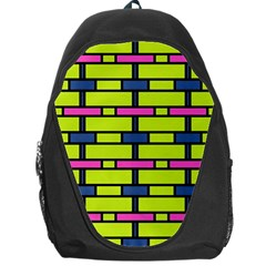 Pink,green,blue Rectangles Pattern Backpack Bag by LalyLauraFLM