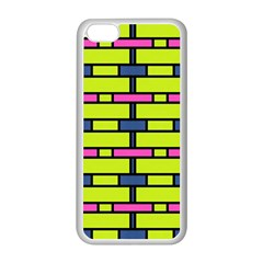 Pink,green,blue Rectangles Pattern Apple Iphone 5c Seamless Case (white) by LalyLauraFLM