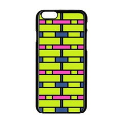 Pink Green Blue Rectangles Pattern Apple Iphone 6 Black Enamel Case by LalyLauraFLM