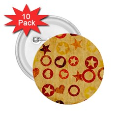 Shapes On Vintage Paper 2 25  Button (10 Pack) by LalyLauraFLM