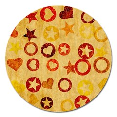 Shapes On Vintage Paper Magnet 5  (round) by LalyLauraFLM