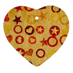 Shapes On Vintage Paper Heart Ornament (two Sides)