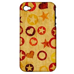 Shapes On Vintage Paper Apple Iphone 4/4s Hardshell Case (pc+silicone) by LalyLauraFLM