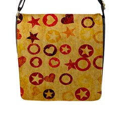 Shapes On Vintage Paper Flap Closure Messenger Bag (l) by LalyLauraFLM