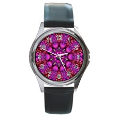 Pink Fractal Kaleidoscope  Round Leather Watch (silver Rim)