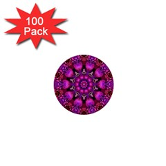 Pink Fractal Kaleidoscope  1  Mini Button (100 Pack) by KirstenStar