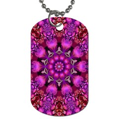 Pink Fractal Kaleidoscope  Dog Tag (one Sided) by KirstenStar