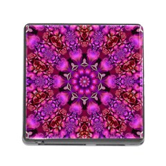 Pink Fractal Kaleidoscope  Memory Card Reader With Storage (square) by KirstenStar