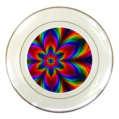 Rainbow Flower Porcelain Display Plate by KirstenStar