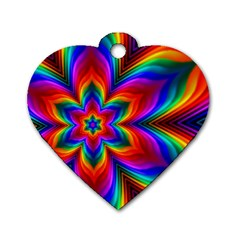 Rainbow Flower Dog Tag Heart (two Sided) by KirstenStar