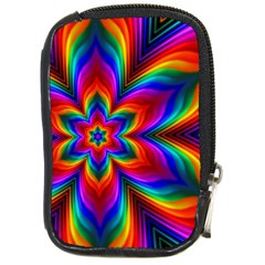 Rainbow Flower Compact Camera Leather Case by KirstenStar