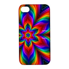 Rainbow Flower Apple Iphone 4/4s Hardshell Case With Stand by KirstenStar