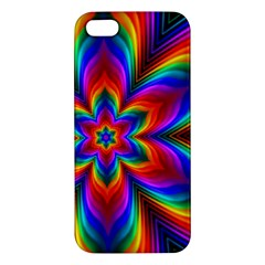 Rainbow Flower Apple Iphone 5 Premium Hardshell Case by KirstenStar