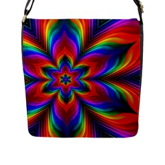 Rainbow Flower Flap Closure Messenger Bag (l)