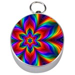 Rainbow Flower Silver Compass Front