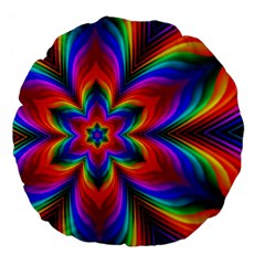 Rainbow Flower Large 18  Premium Flano Round Cushion