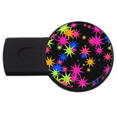 Colorful Stars Pattern Usb Flash Drive Round (4 Gb) by LalyLauraFLM